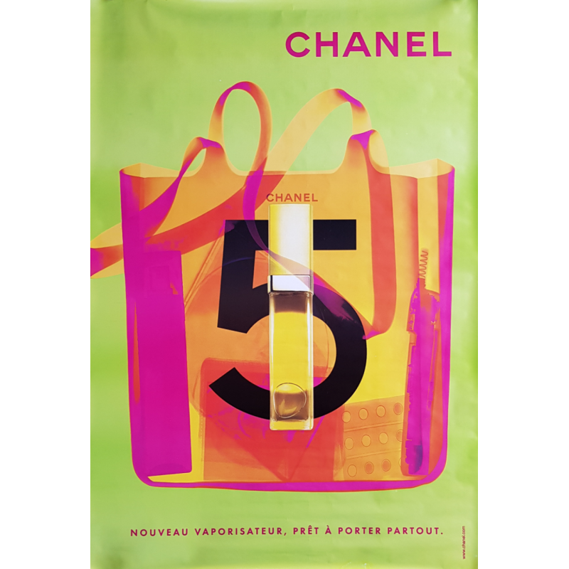 Original poster Chanel no 5 bag spray green 67 x 47 inches