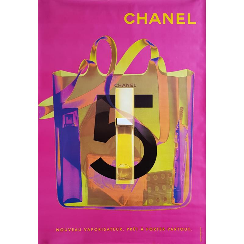 Original poster Chanel no 5 bag spray pink 67 x 47 inches