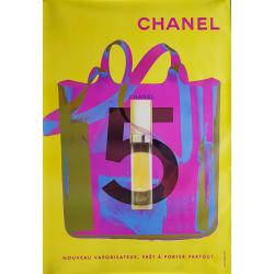 Affiche originale Chanel no 5 sac vaporisateur jaune 170 cms x 120 cms