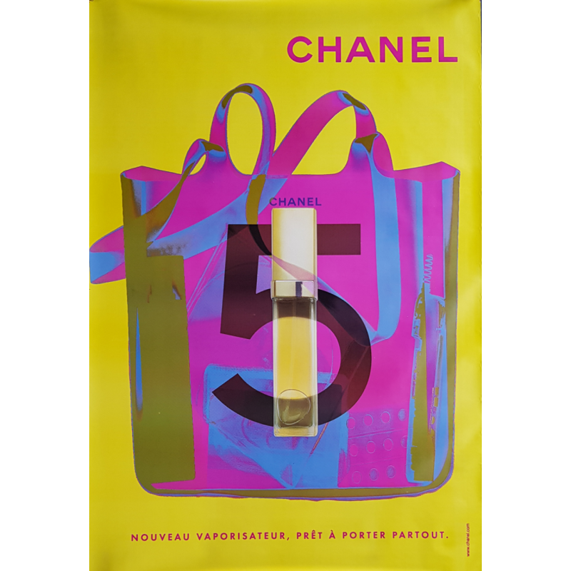 Original poster Chanel no 5 bag spray yellow 67 x 47 inches