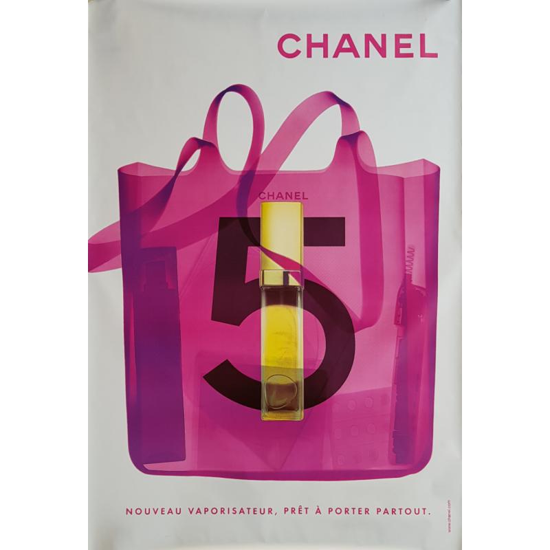 Original poster Chanel no 5 bag spray white 67 x 47 inches