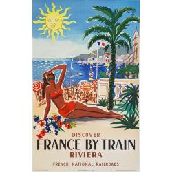 Affiche ancienne originale French riviera Hervé BAILLE