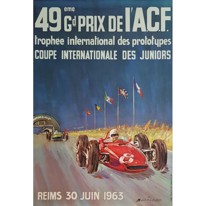 Affiche ancienne originale 49ème Grand Prix ACF Reims 1963 BELIGOND