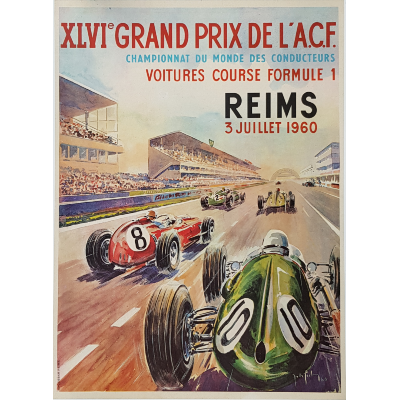 Affiche ancienne originale XLVI Grand Prix ACF Reims 1960