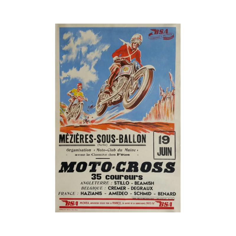 Affiche ancienne originale Moto-Cross BSA Geo HAM