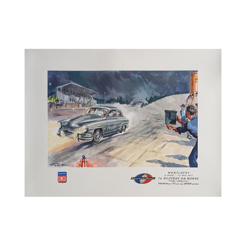 Original vintage poster Simca Aronde Montlhery 1957 Geo HAM