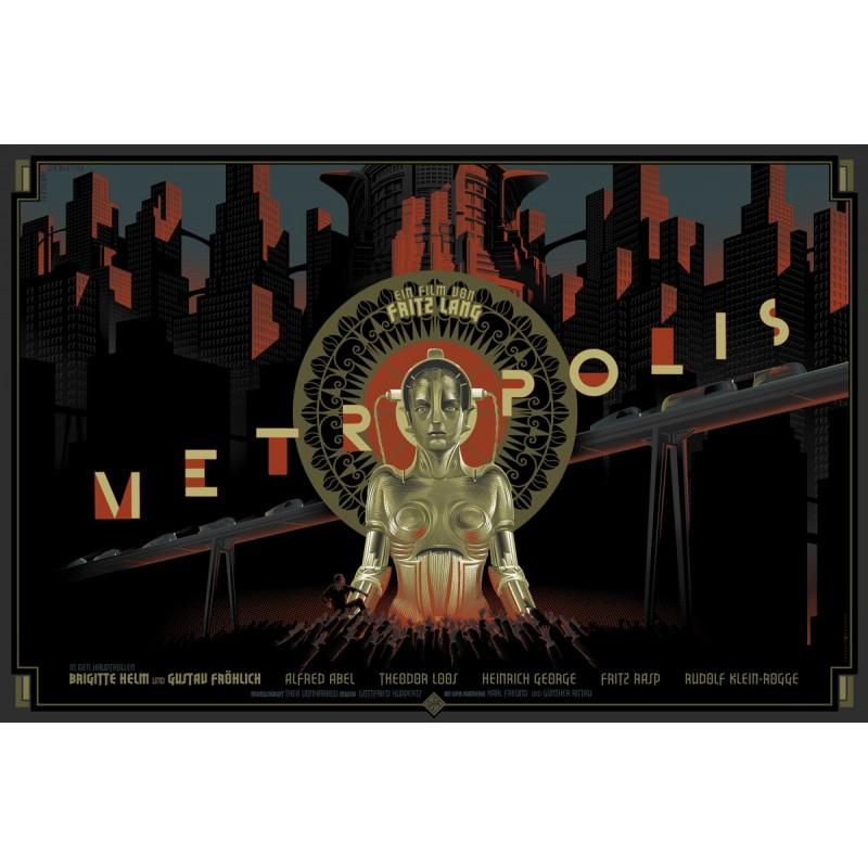 Original silkscreened poster limited Metropolis Laurent DURIEUX Dark Hall Mansion