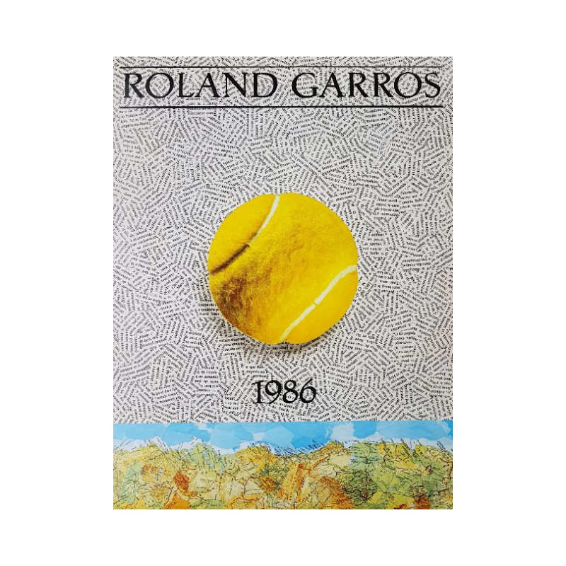 Affiche ancienne originale Tennis Roland Garros 1986 Jiri Kolar