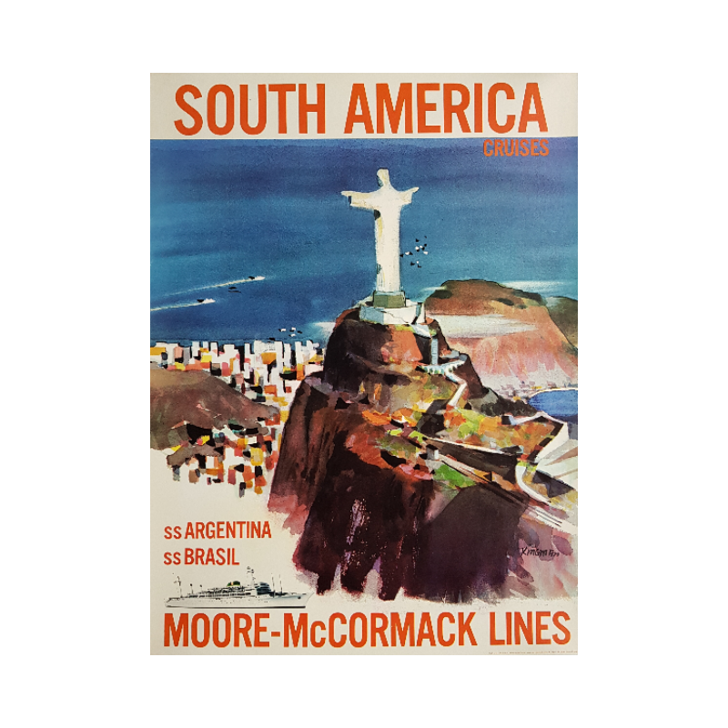 Affiche ancienne originale South America Moore McCormack Lines