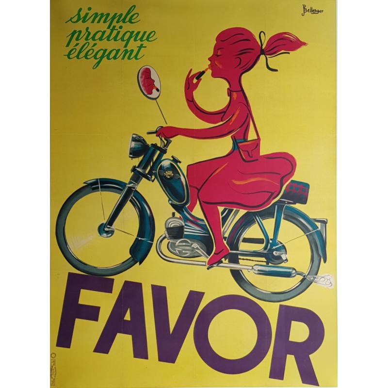 Affiche ancienne originale Favor Simple Pratique Elégant BELLENGER