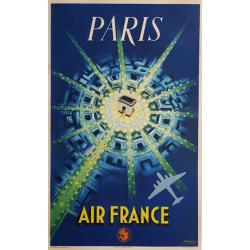 Original vintage poster Air France PARIS 1st print 1947 Pierre BAUDOUIN