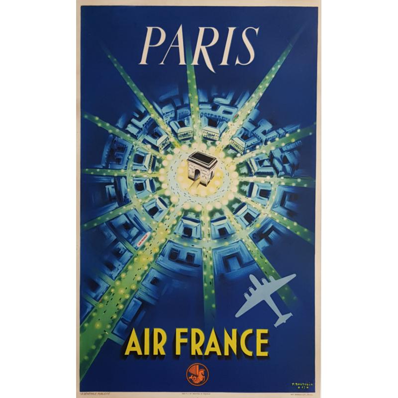 Affiche ancienne originale Air France PARIS 1ère édition 1947 Pierre BAUDOUIN