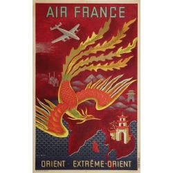 Affiche ancienne originale Air France Orient Extrême Orient Lucien BOUCHER