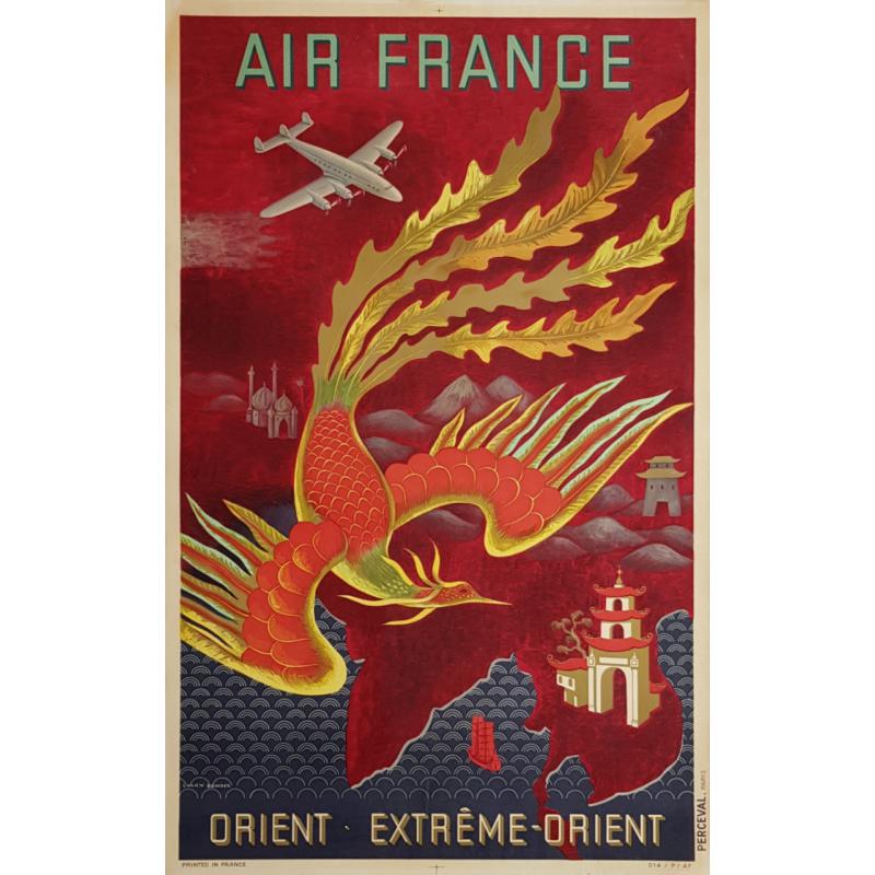 Original vintage poster Air France Orient Extrême Orient Lucien BOUCHER