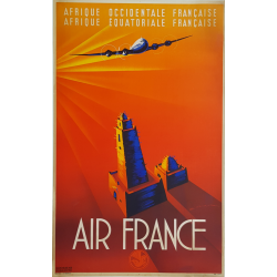Affiche ancienne originale Air France Afrique Occidentale Equatoriale MAURUS