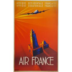 Original vintage poster Air France Afrique Occidentale Equatoriale MAURUS