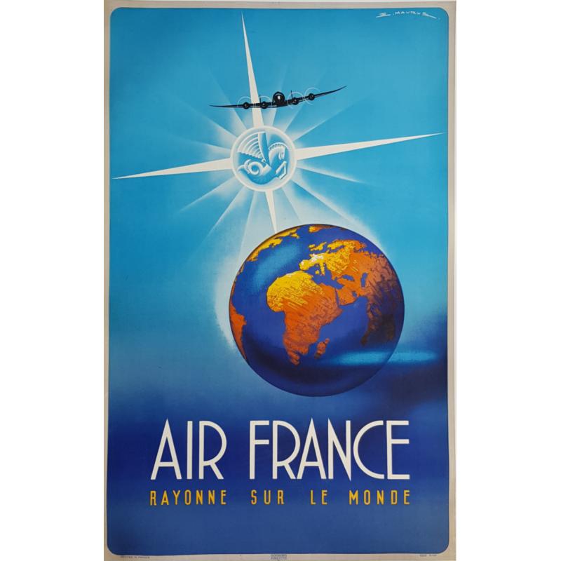 Affiche ancienne originale Air France rayonne sur le monde MAURUS