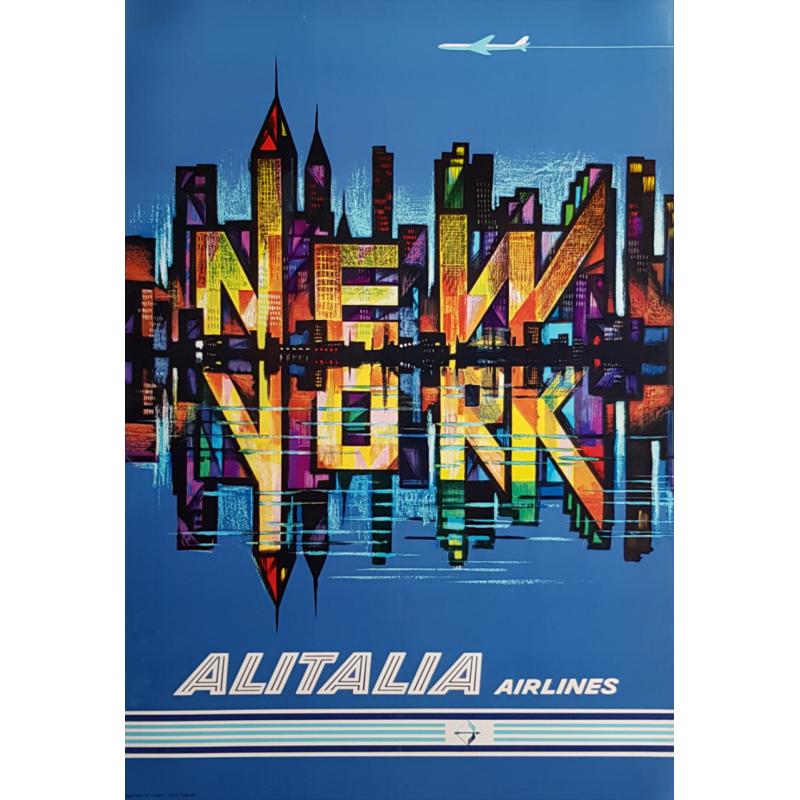 Affiche ancienne originale Alitalia Airlines New York