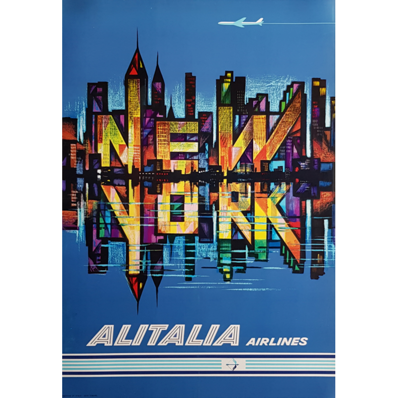 Original vintage poster Alitalia Airlines New York