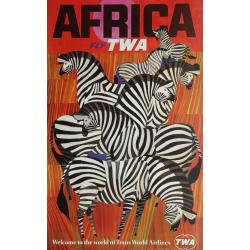 Affiche ancienne originale Fly TWA Africa David Klein