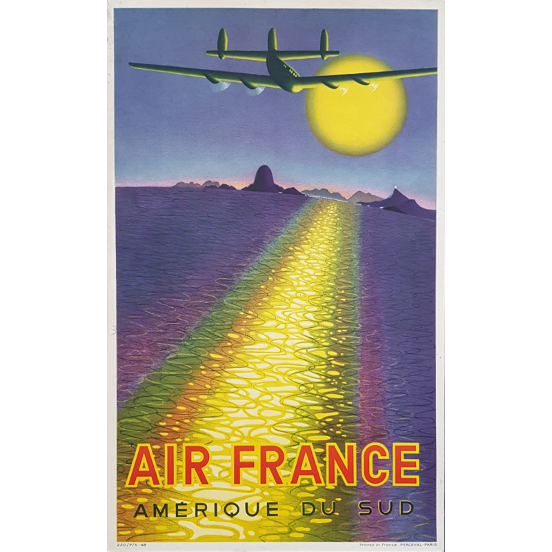 Affiche ancienne originale Air France Amérique du Sud Victor VASARELY