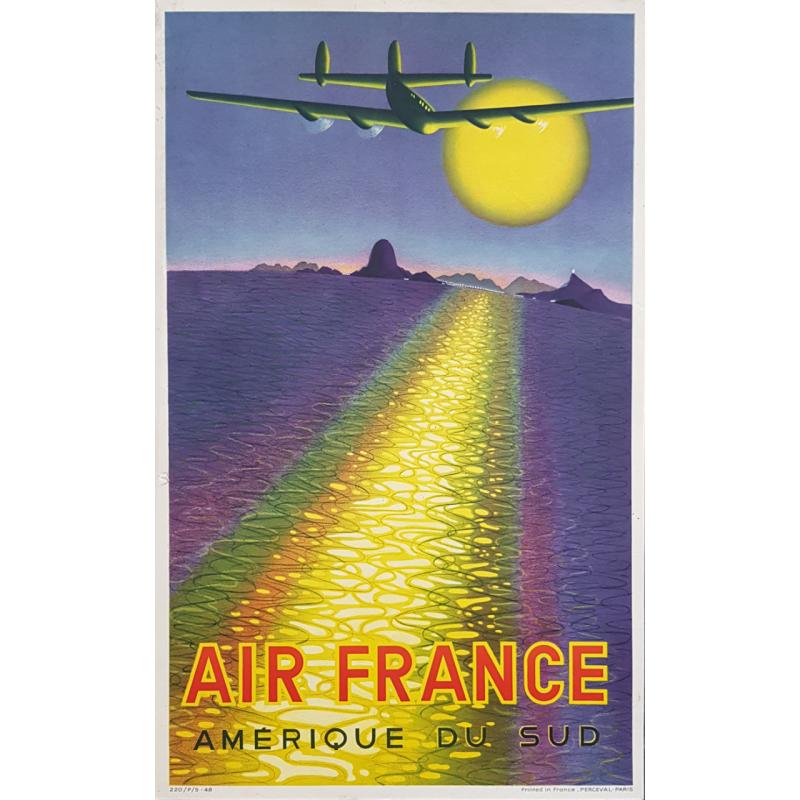 Original vintage small poster Air France Amérique du Sud Victor VASARELY