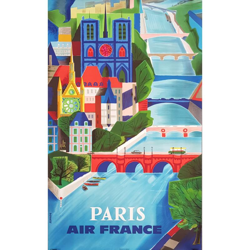 Affiche ancienne originale Air France Paris VERNIER