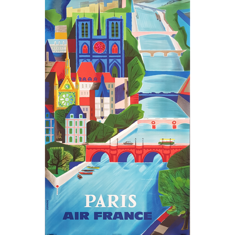 Original vintage poster Air France Paris VERNIER