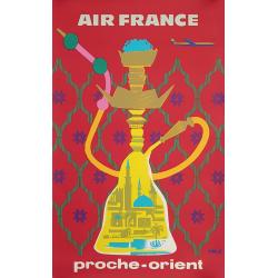 Affiche ancienne originale Air France Proche Orient ERIC
