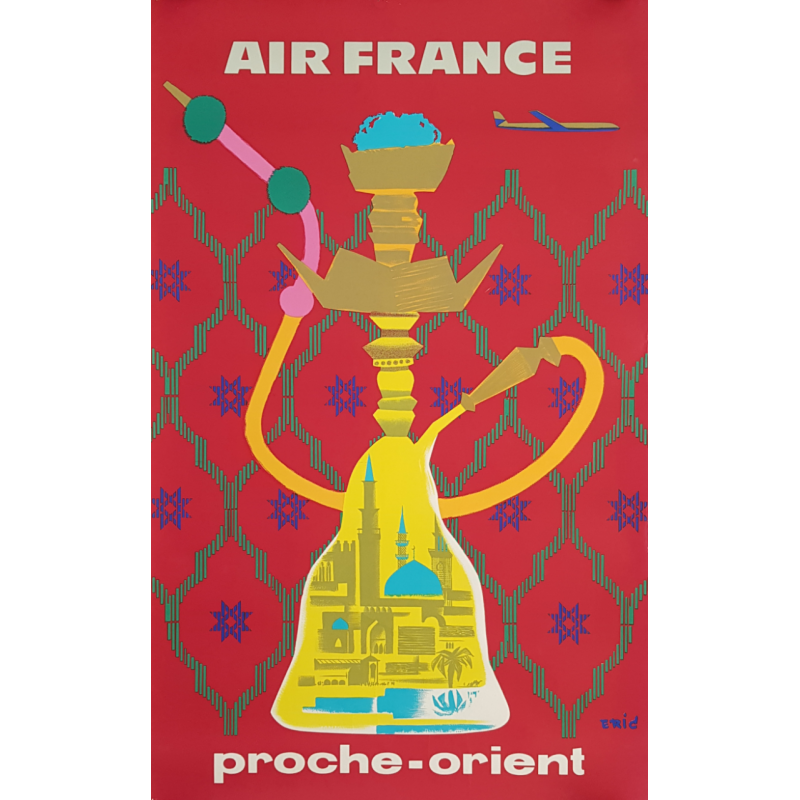 Original vintage poster Air France Proche Orient ERIC