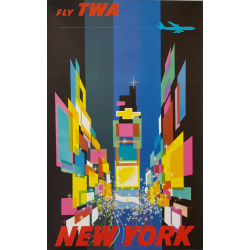 Original vintage poster Fly TWA New York Small version David Klein