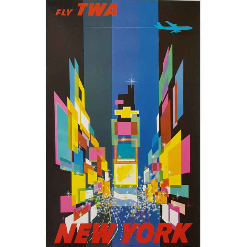 Affiche ancienne originale Fly TWA New York Petite version David Klein