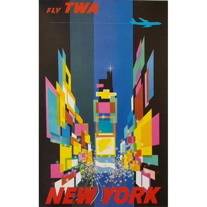 Original vintage poster Fly TWA New York Small version David Klein