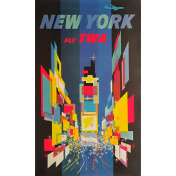 Original vintage travel poster TWA New York 1960s David Klein