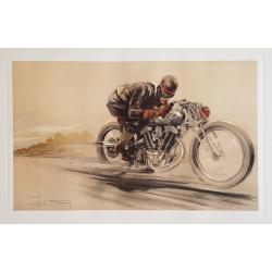 Affiche ancienne originale lithographie Motocycliste en course GEO HAM