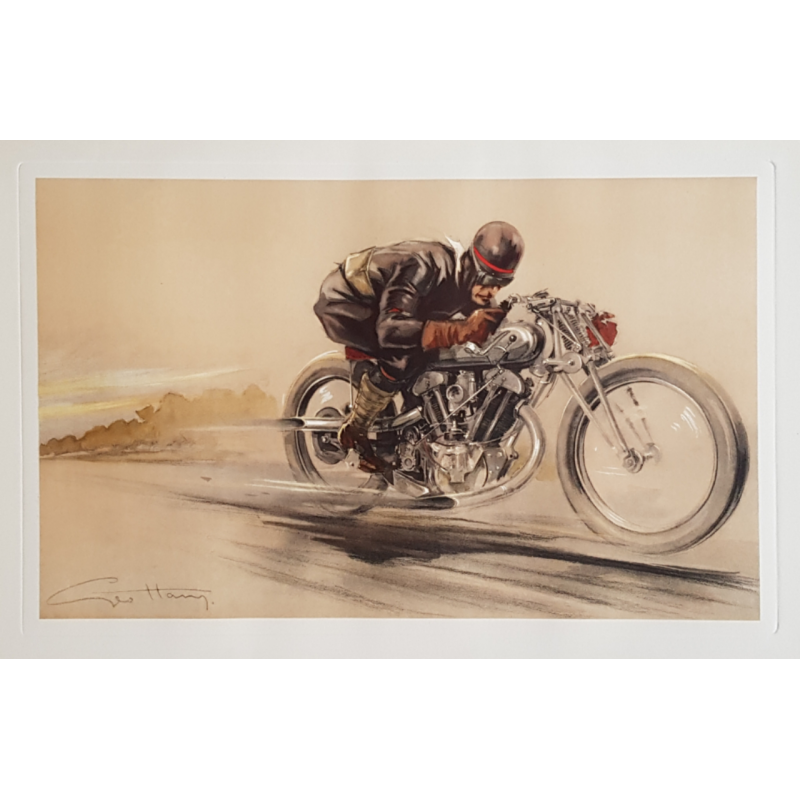 Original vintage poster lithography Motorcyclist in the race GEO HAM