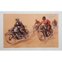 Affiche ancienne originale lithographie Course de motards GEO HAM
