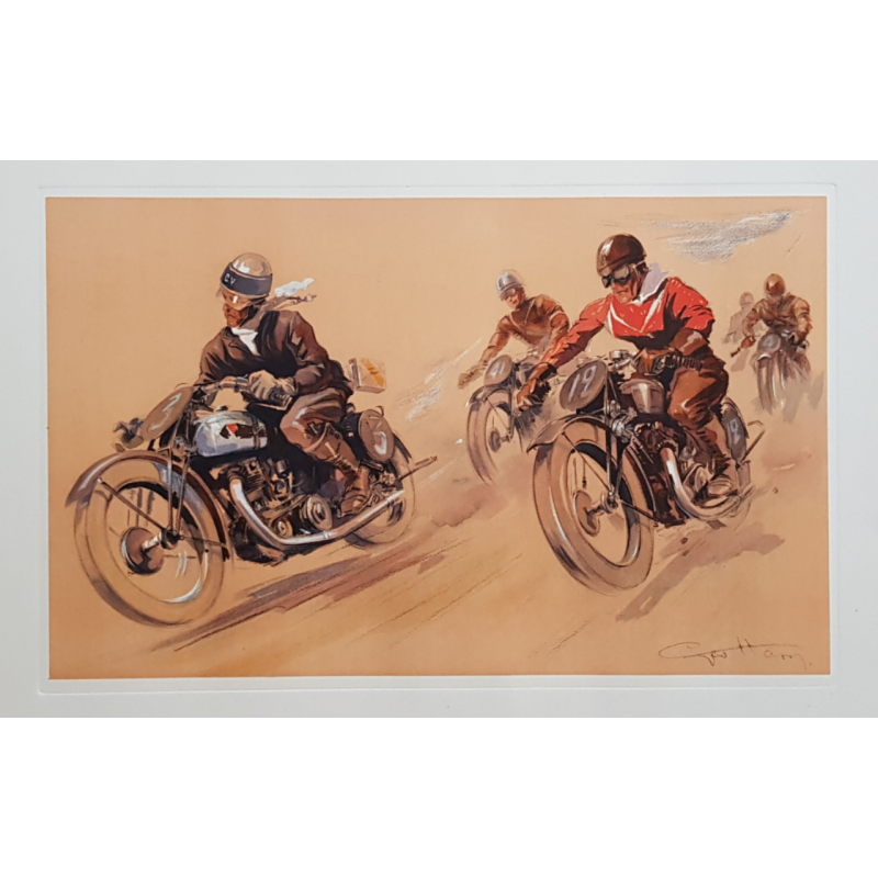 Original vintage poster lithography Race of motorcyclists GEO HAM