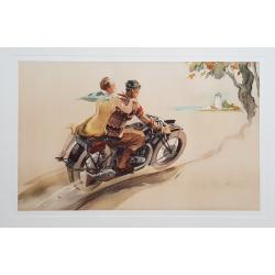 Affiche ancienne originale lithographie Couple à moto GEO HAM