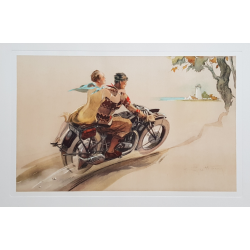 Original vintage poster lithography Couple on motorbike GEO HAM