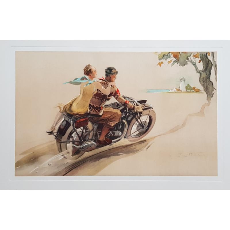 Original vintage poster lithography Couple on motorbike GEO HAM