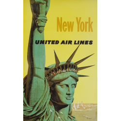 Original vintage poster United Air Lines NEW YORK Statue liberté Stan Galli