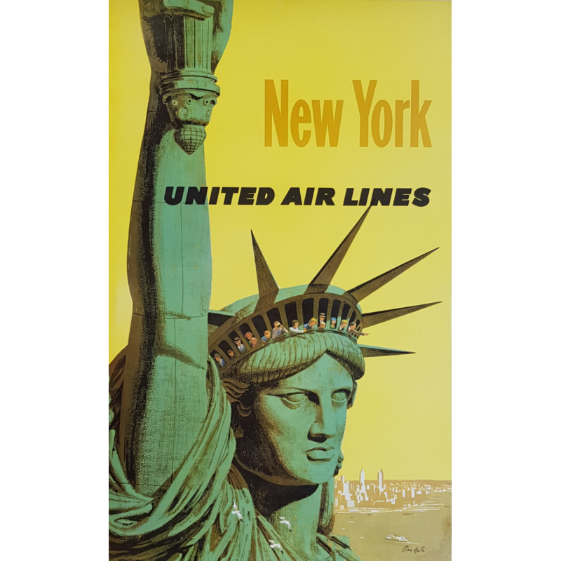 Affiche ancienne originale United Air Lines NEW YORK Statue liberté Stan Galli