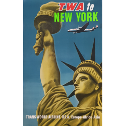 Affiche ancienne originale TWA to New York USA Europe Africa Asia