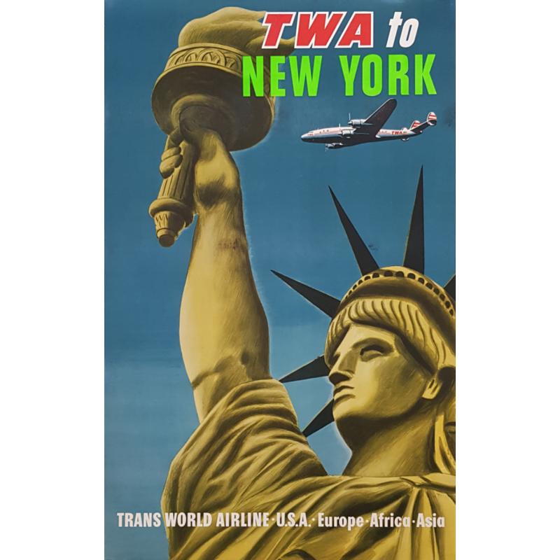 Original vintage poster TWA to New York USA Europe Africa Asia