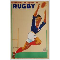 Affiche ancienne originale Fédération Française Rugby Joe BRIDGE 1942