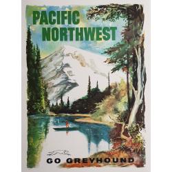 Affiche ancienne originale Go Greyhound Pacific Northwest LOEHL
