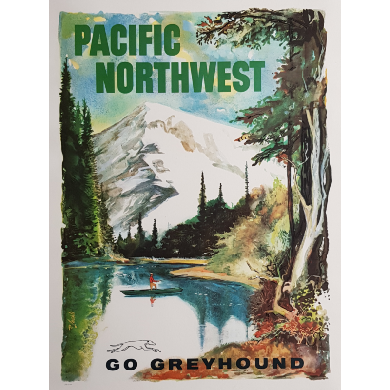 Affiche ancienne originale Go Greyhound Pacific Northwest LOEHL