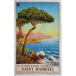 Affiche ancienne originale Saint-Raphaël La côte d'azur - Tom Morel De Tanguy