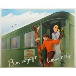 Affiche ancienne originale Bon voyage Bonne neige FIX-MASSEAU
